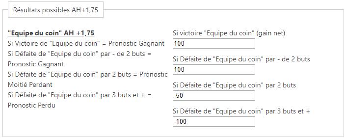 Calculatrice Asian Handicap - Exemple résultats possibles