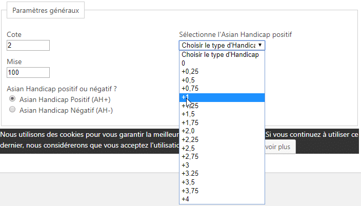 Calculatrice Asian Handicap - Selection handicap